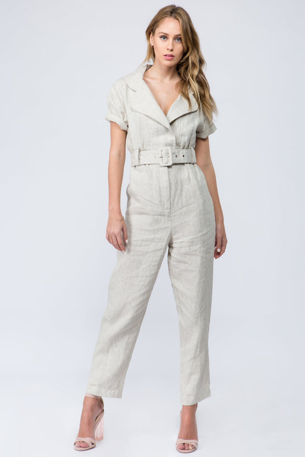 Thick linen short sleeve jumpsuit in natural color with belt