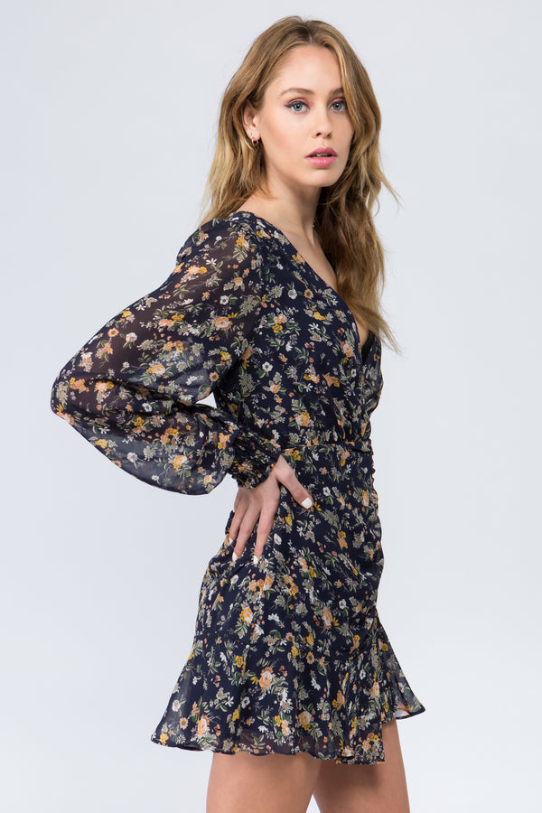Navy floral print dress with v neck and button front