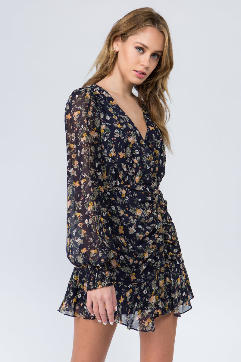 Rouched button front navy floral print mini dress with V neck and long sheer sleeves