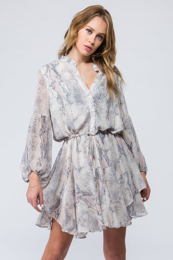 Flounce botton boho dress with buttons and tie waist and balloon sleeve