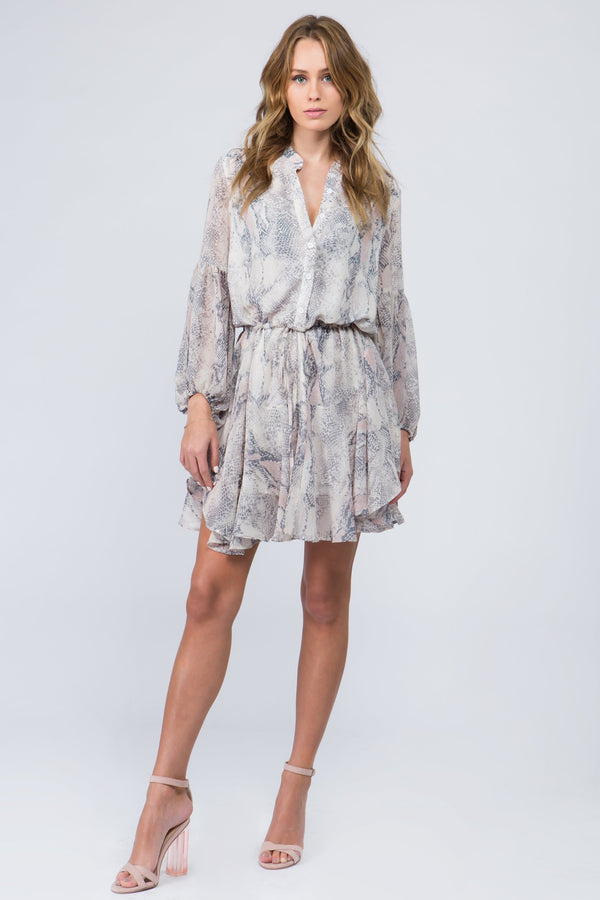 Blush snake skin print boho dress with button front and tie waist