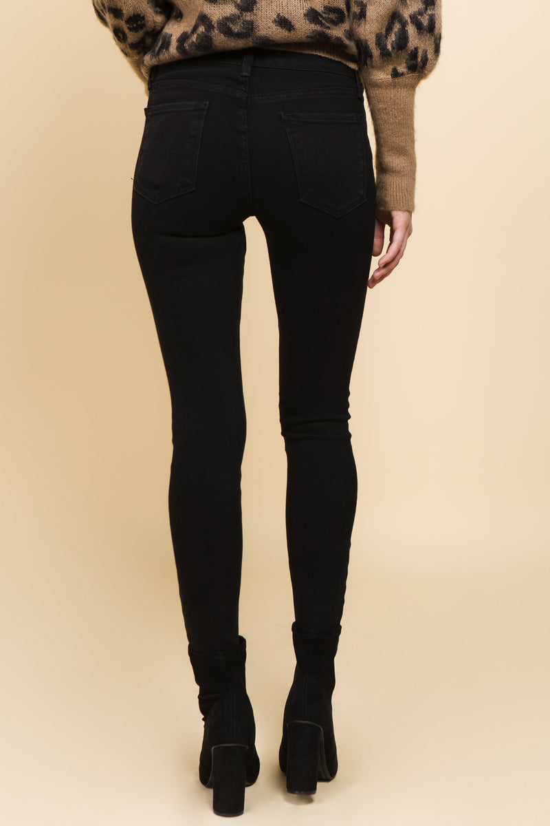 Black jeans with high waist and distressed knees