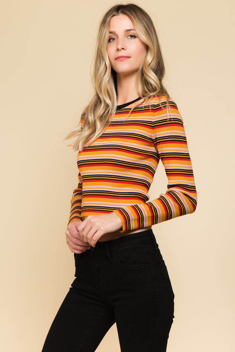 Slightly cropped multi colored striped long sleeve tee