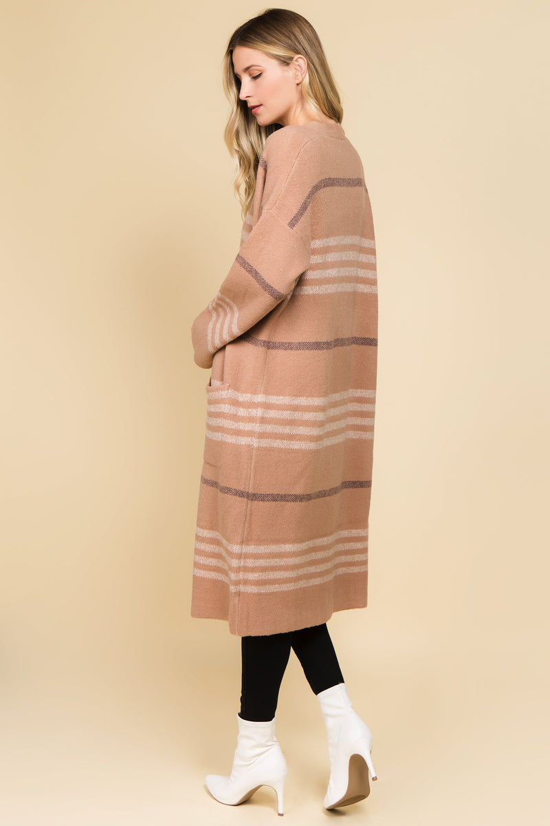 Long striped tan and white open front cardigan
