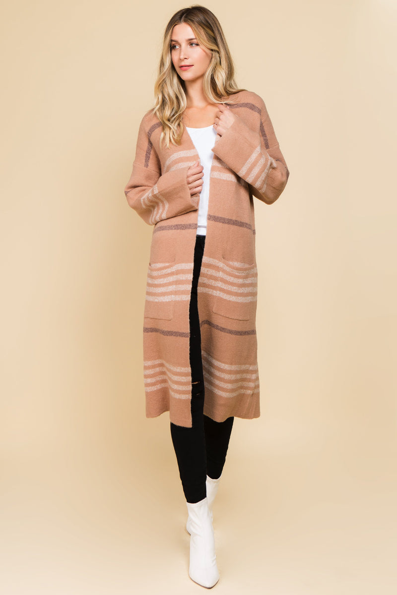 Stiped blush open front duster