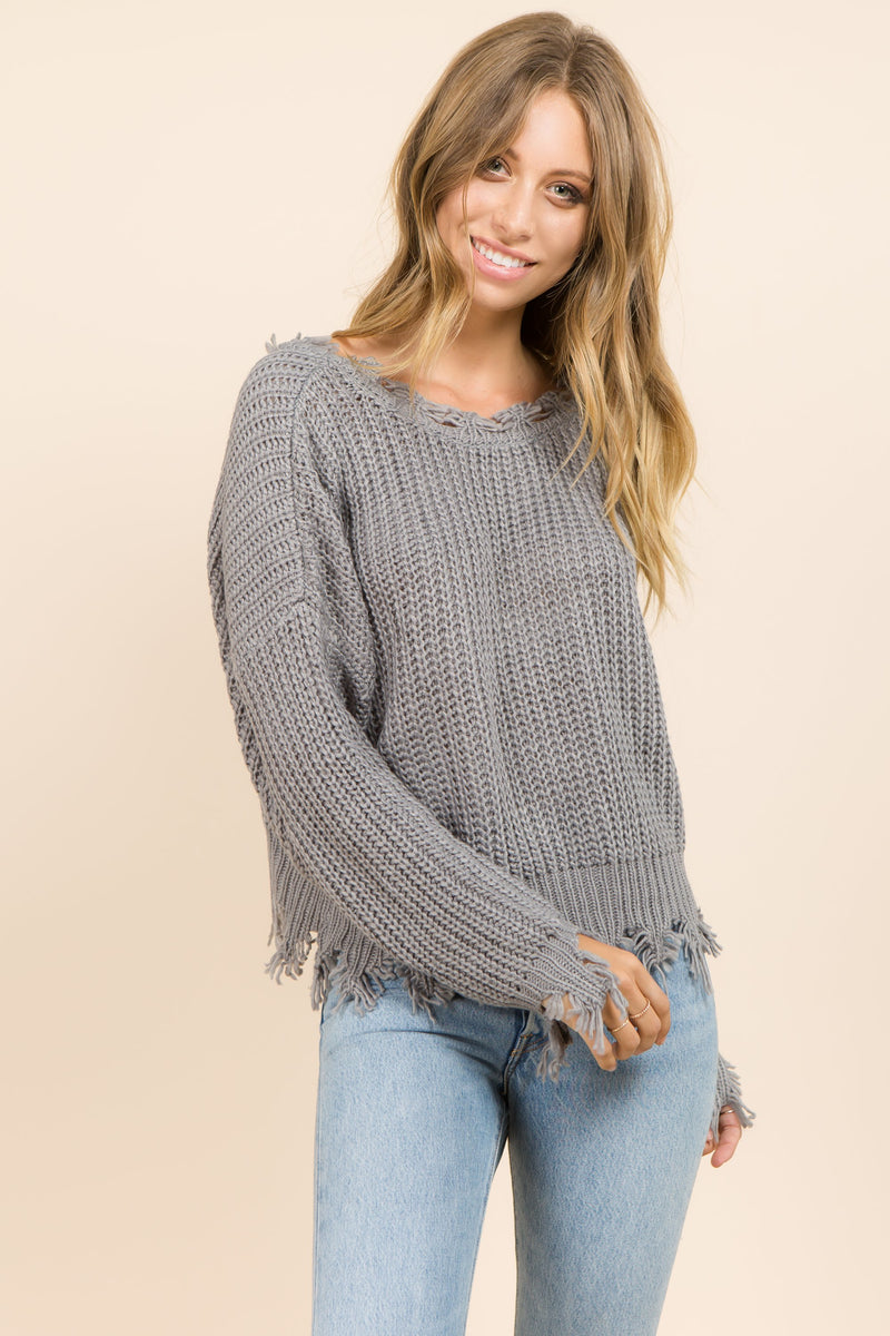 Boxy grey knit with distressed detail