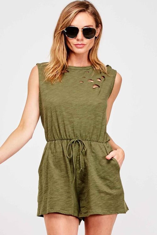 Elise Distressed Romper