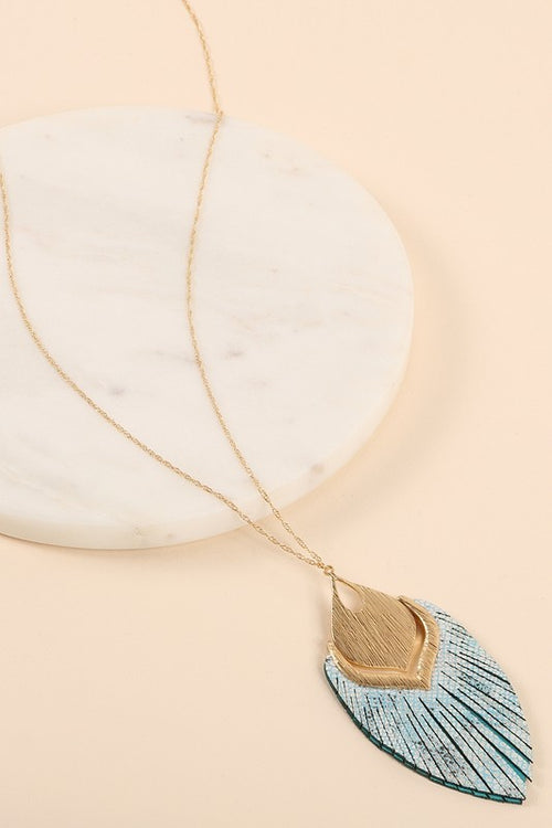 Leather Tassel Metal Pendant Long Necklace