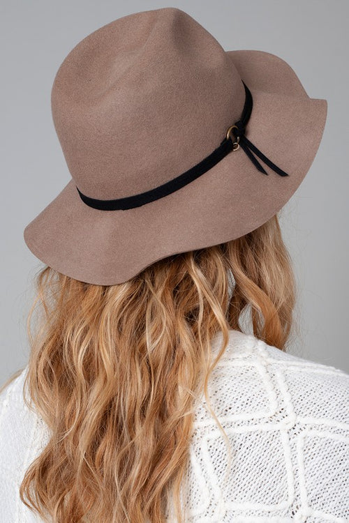 Wool Felt Fedora Hat with Faux Leather Trim Tie