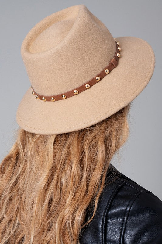 Wool Felt Hat with Faux Leather Studded Trim