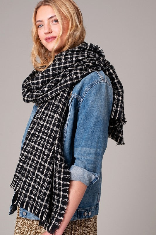Plaid Frayed Hem Scarf