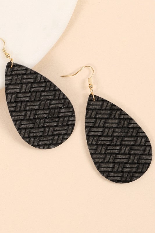 Tear Drop PU Leather Dangling Earrings