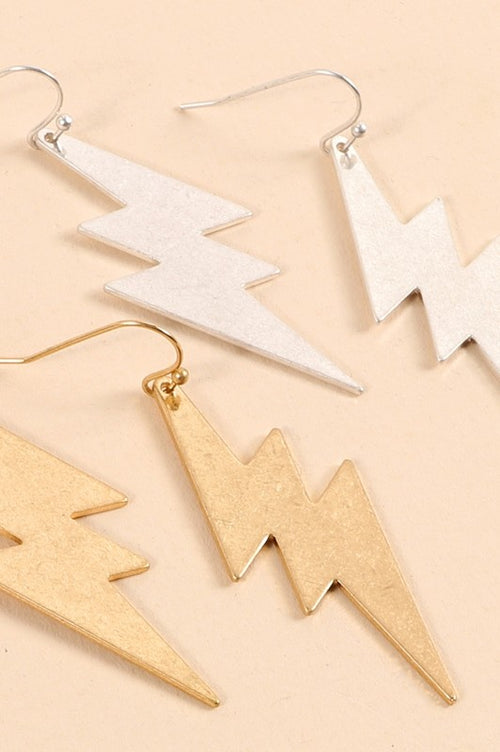 Thunder Bolts Metal Dangling Earrings