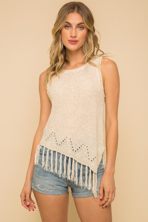 Kali Tassel Sleeveless Sweater Top