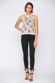 GEO PRINT HALTER NECK SWEATER