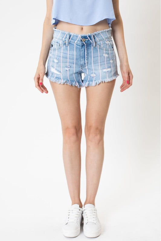 High Rise Distressed Striped Shorts