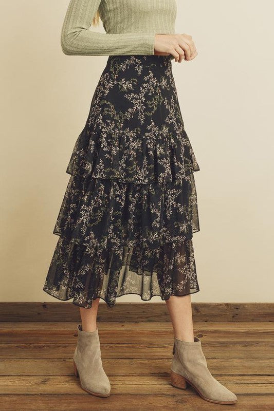 Jess Tiered Midi Skirt