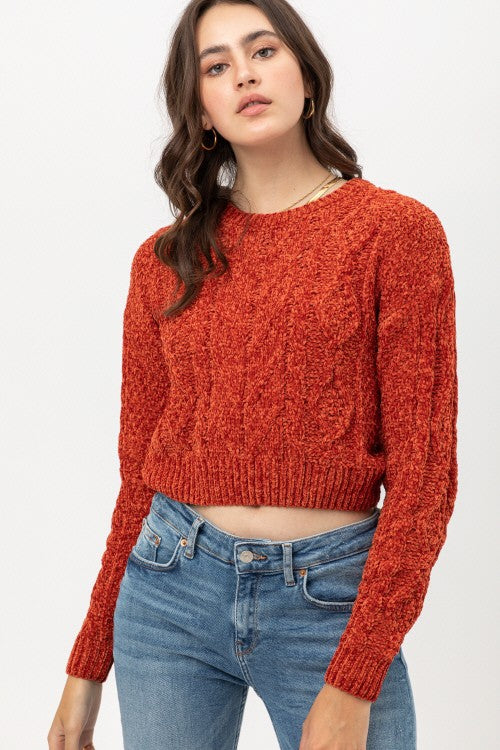 Lara Chenille Crop Sweater