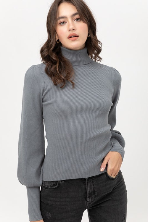 Lilith Ribbed Puff Sleeve Sweater