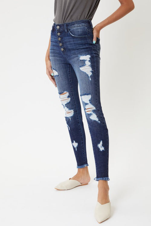 High Rise Distressed Ankle Skinny Jeans