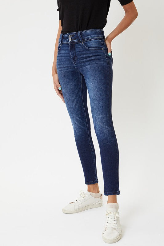 High Rise Double Button Super Skinny Jeans