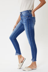 High Rise Fray Hem Ankle Skinny Jeans