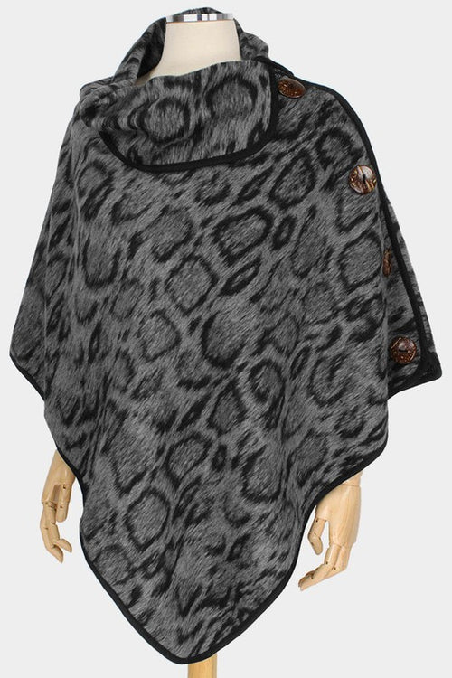 Animal Print Coconut Button Poncho