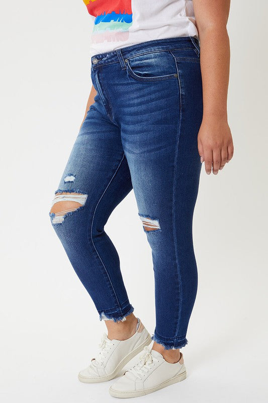 Mid Rise Release Hem Ankle Skinny Jeans