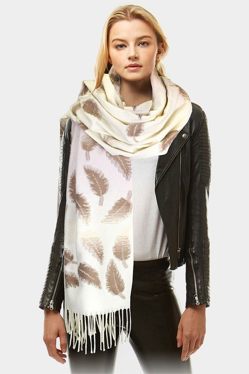 Leaf Pattern Tassel Oblong Scarf
