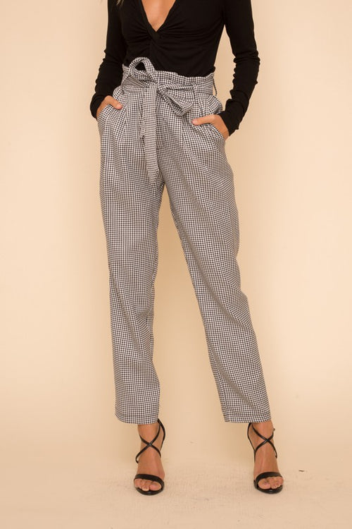 Checkered High Waisted Paper Bag Pants
