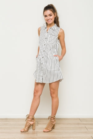 Jina Stripe Shirt Dress