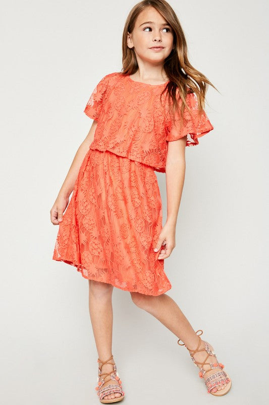 Coral Pineapple Lace Dress