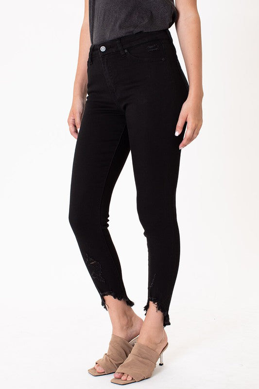 High Rise Black Ankle Skinny Jeans
