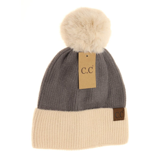 Colorblock Solid Faux Fur Pom Beanie