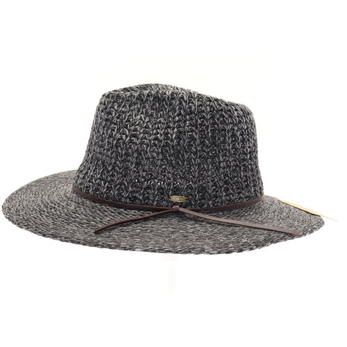 Knit Fedora Hat with Leather Cord
