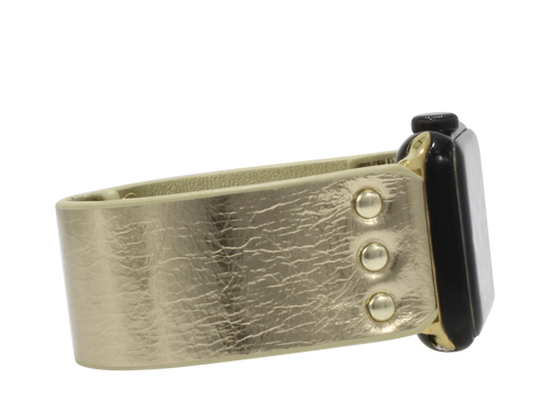 Leather Gold Metallic Apple Watch Band