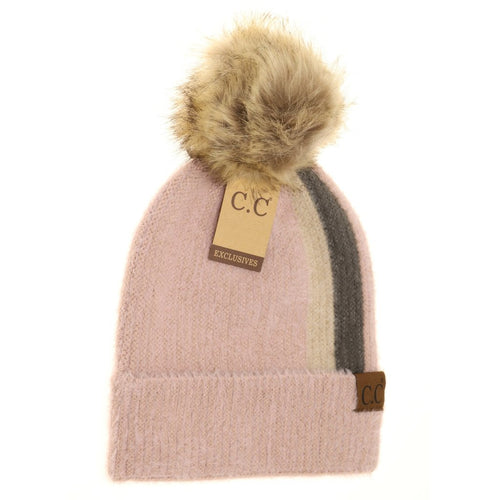 Striped Fur Knitted Pom Beanie