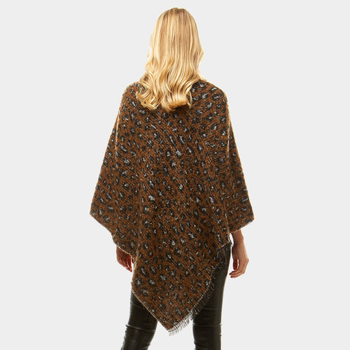 Leopard Print Poncho Sweater