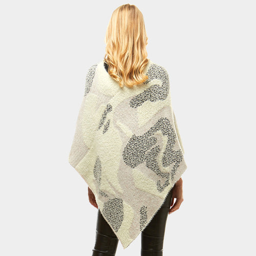 Abstract Chenille Poncho