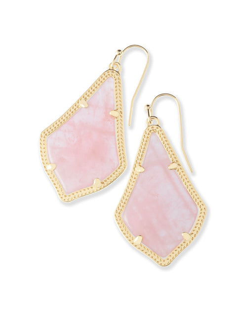 Alex Earring Gold Rose Quartz