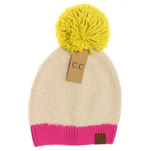 Color Block Knitted Sherpa Pom Beanie