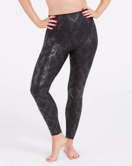 Faux Leather Brocade Leggings
