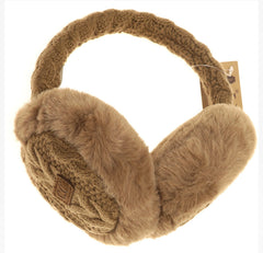 Cable Knit Faux Fur Earmuff
