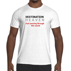 Mens Destination Heaven Graphic Performance fitted T-shirt.