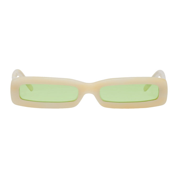 Beige Long Rectangular Sunglasses