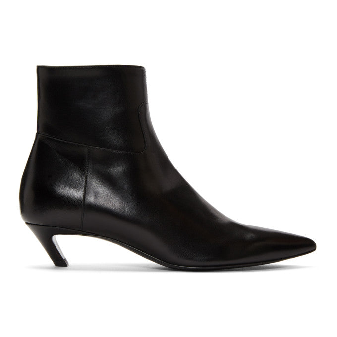 Black Slash Heel Boots