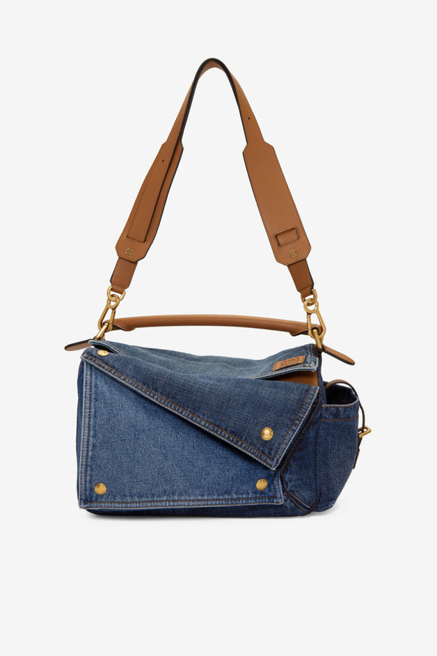 Medium Denim Puzzle Pockets Bag