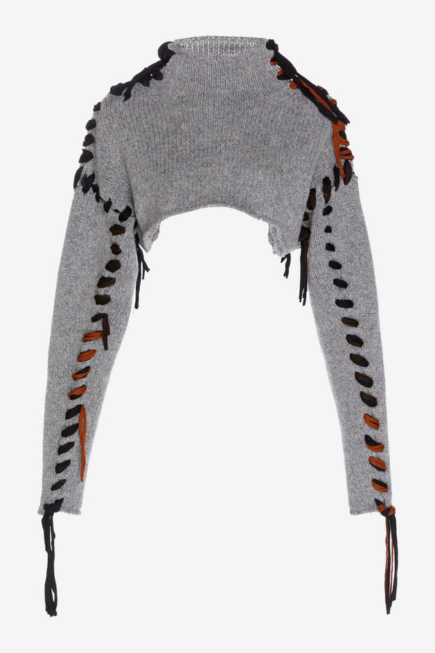 Kacee Lace-Up Cropped Wool Sweater