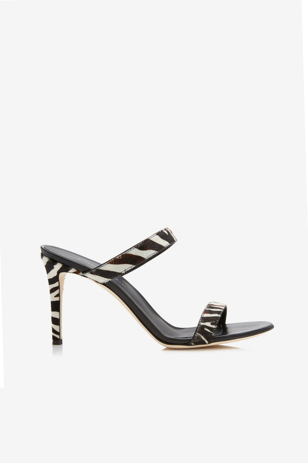 Marti Zebra-Print Calf Hair Sandals