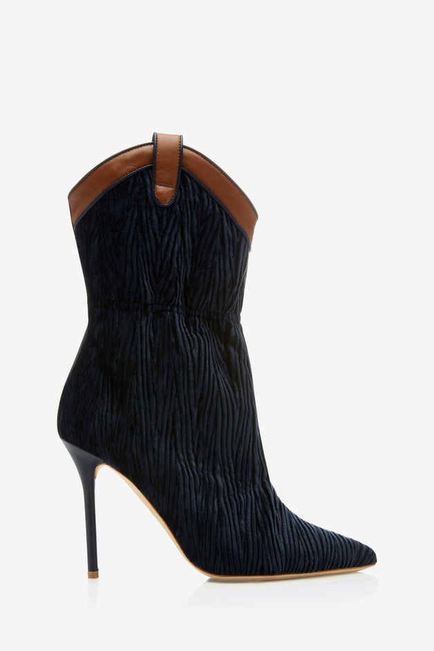Daisy Leather-Trimmed Velvet Boots